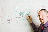 Professor explaining human face in a drawing class
