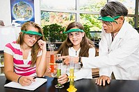 Student doing a scientific experiment in a laboratory