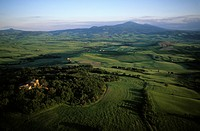 Italy, Tuscany, Orcia Valley aerial view
