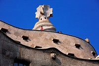 Spain, Catalonia, Barcelona, Casa Mila by Gaudi