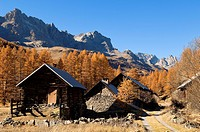 France, Hautes Alpes, the Brianconnais area in autumn, La Claree Valley, typical chalets with larch shingle roofs