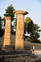 Greece, Peloponnese Region, Olympia, listed as World Heritage by UNESCO, the Hera Temple