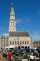 France, Pas de Calais, Arras, Place des Heros and the belfry listed as World Heritage by UNESCO