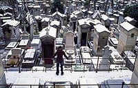 France, Paris, Pere Lachaise cemetery in winter