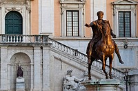 Italy, Lazio, Rome, historical centre listed as World Heritage by UNESCO, Piazza del Campidoglio Capitoline Square, equestrian statue of Marcus Aureli...