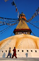 Nepal, Kathmandu Valley, listed as World Heritage by UNESCO, Bodnath, 14th century stupa with Buddha´s eyes