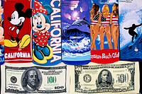 United States, California, Los Angeles, Venice, beach towels with ground dollar, surfer, Minnie, Mickey, sold on the seafront