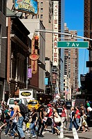 United States, New York City, Manhattan, zebra crossing at the crossroad of the 43rd Street and the 7th Avenue