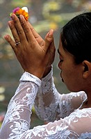 Indonesia, Bali, Denpasar, Puputan Square in the downtown, praying during Tawur Agung Kesanga, also known as the Day of Great Sacrifices, that is held...