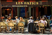 France, Paris, Quartier Latin, Place de la Sorbonne, terrace of Les Patios Brasserie