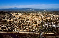 France, Vaucluse, Luberon, Cavaillon, with the Mont Ventoux in the background aerial view