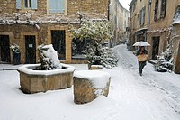 France, Vaucluse, Luberon, Lourmarin, labelled Les Plus Beaux Villages de France The Most Beautiful Villages of France, Lourmarin, small street under ...
