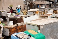 Senegal, Petite Cote, Thies Region, Mbour, fish market, fridges and freezers for the fish