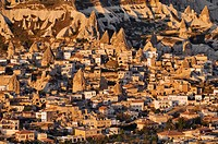 Turkey, Central Anatolia, Cappadocia, listed as World Heritage by UNESCO, Goreme village aerial view