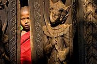 Myanmar Burma, Mandalay Division, Ava, Bagaya Kyaung monastery built entirely in teak in 1834, the monk Ashin Nanda Thira aged 9