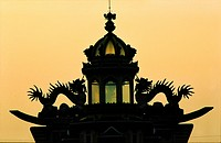 Vietnam, Tay Ninh Province, roof detail of the Holy See of Caodaism temple near Tay Ninh City