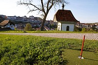 Switzerland, Canton of Fribourg, Fribourg, Urban Gulf Course, Saint Jost Chapel