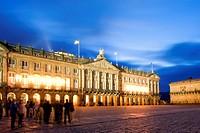 Spain, Galicia, Santiago de Compostela, listed as World Heritage by UNESCO, Praza da Obradoiro, the illuminated City Hall