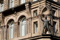 United Kingdom, Liverpool, North John Street, The Hard Days Night Hotel, the brand new Beatles Hotel, facade with George Harrison statue