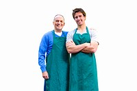 Green grocers, smiling, portrait, cut out