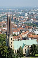 High view on the oldest city church Altstädter Nicolaikirche  It is a Gothic hall church with a height of 81 5 m 267 ft  It was founded in 1236 by the...