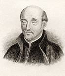 Saint Ignatius of Loyola, 1491 to 1556  Spanish theologian  From the book Crabbes Historical Dictionary published 1825