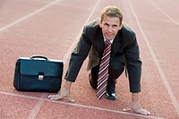 businessman at starting line