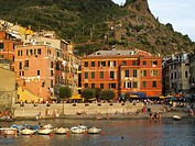 Sunset over the village and harbour of Vernazza in the Cinque Terre region of the Italian Riviera or Riviera di Levanto