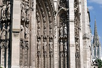 France, Seine Maritime, Rouen, Western portal of Notre Dame Cathedral and bell tower Saint Maclou Church