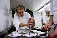 France, Savoie, Courchevel, France, Savoie, Courchevel, Les Airelles Hotel Restaurant, Chef Pierre Gagnaire and his staff