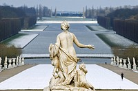 France, Yvelines, Chateau de Versailles Park, listed as World Heritage by UNESCO, the Latona Fountain, statue and Grand Canal