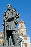 War memorial, Moors and Christians, Mauren und Christen, Plaza del Arco, Caravaca de la Cruz, Murcia, Spain