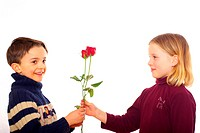 Boy presenting roses to girl