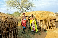 Kenya, Mount Kenya area, Laikipia Plateau, village of the Samburu ethnic group, a traditional hut