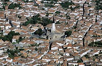 France, Charente Maritime, Ile de Re, Ars en Re village, labelled Les Plus Beaux Villages de France The Most Beautiful Villages of France aerial view