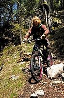 Boy on bicycle, Bavaria, Germany, mountain bike