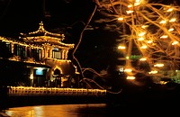 Vietnam, Hanoi, illuminated Public Building during the Tet festival Vietnamese new year