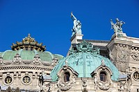 France, Paris, roof detail of the Garnier Opera house, on the left Apollo lifting his lyre by Aime Millet and Pegasus by Eugene Lequesne on the right