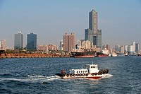 Taiwan, Kaohsiung, the harbour and the Tuntex Sky Tower in the background