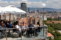 Spain, Catalonia, Barcelona, Montjuic Hill bar and restaurant