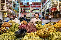 Morocco, Tangier Tetouan Region, Tangier, Medina, grocer selling olives