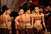 India, Maharashtra state, Mumbai Bombay, Bollywood, dancers during a shooting, Bollywood costumes have to be both modest and sensual according prudish...