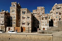 decorated historic house in the oldtown of Sanaa, Sana´a, UNESCO World Heritage Site, Yemen, Arabia, West Asia