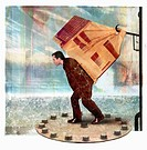 Man carrying house on back