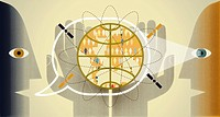 Men talking with globe and satellites inside speech bubble