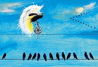 Birds on telephone wire watching exotic bird rice unicycle