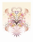 Floral, heart_shaped abstract pattern