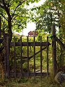 Gate by pastureland Smaland Sweden.