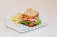 High angle view of a sandwich with chips