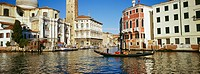 People in gondola sailing on Grand Canal, Venice, Italy